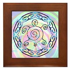Spiral Turtles Framed Tile