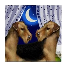 AIREDALE TERRIER DOGS WINDOW Tile Coaster