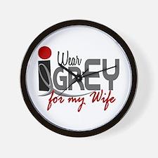 I Wear Grey For My Wife 32 Wall Clock