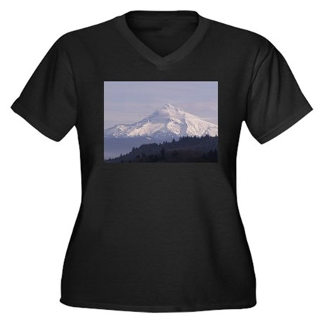Mt. Hood Women's Plus Size V-Neck Dark T-Shirt