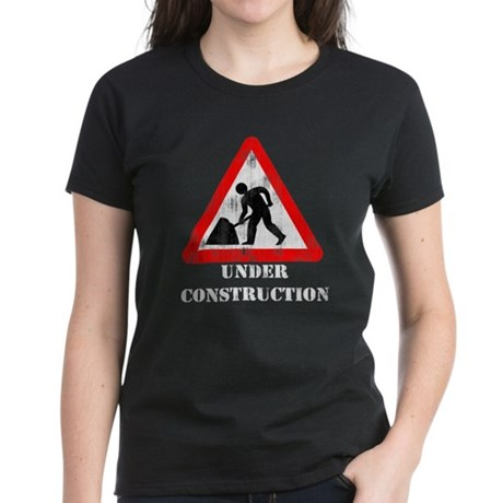 Under Construction Distressed Women's Dark T-Shirt