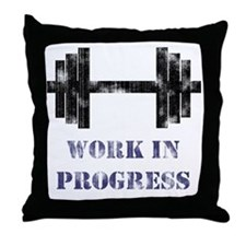 Gym Work In Progress Distressed Throw Pillow