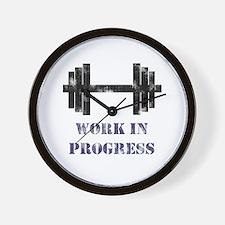 Gym Work In Progress Distressed Wall Clock