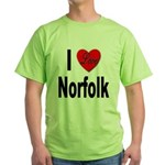 I Love Norfolk (Front) Green T-Shirt