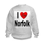 I Love Norfolk (Front) Kids Sweatshirt