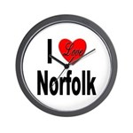 I Love Norfolk Wall Clock