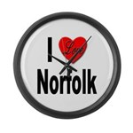 I Love Norfolk Large Wall Clock