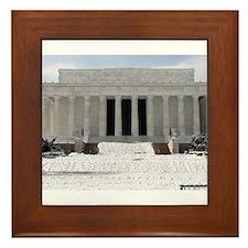 Lincoln Memorial in the snow Framed Tile