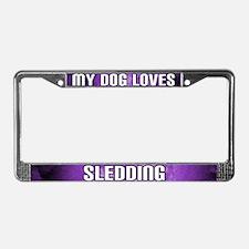 My Dog Loves Sledding License Plate Frame (Purple)