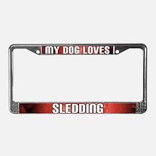 My Dog Loves Sledding License Plate Frame (Red)