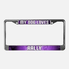 My Dog Loves Rally License Plate Frame (Purple)