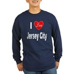 I Love Jersey City (Front) Long Sleeve Dark T-Shir