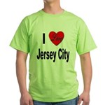 I Love Jersey City (Front) Green T-Shirt