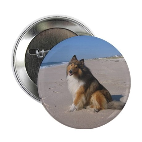 """Collie at the Beach 2.25"""" Button"""