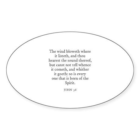 JOHN 3:8 Oval Sticker