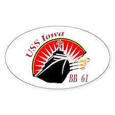 USS Iowa BB-61 Oval Stickers