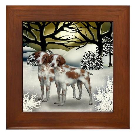 BRITTANY SPANIEL DOGS WINTER SUNSET Framed Tile