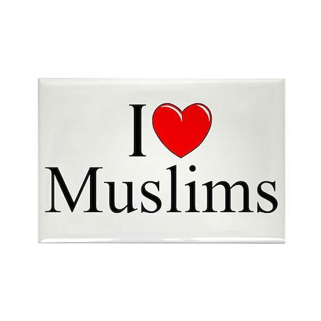 """I Love (Heart) Muslims"" Rectangle Magnet"