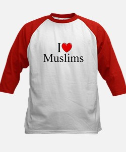 """I Love (Heart) Muslims"" Kids Baseball Jersey"