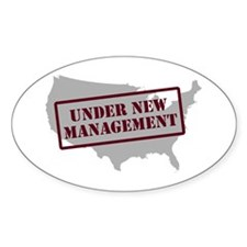 """Under New Management"" Oval Decal"