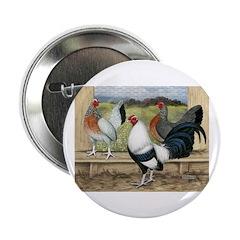 "Duckwing Bantam Chickens 2.25"" Button"