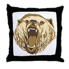 Bear Roaring Throw Pillow