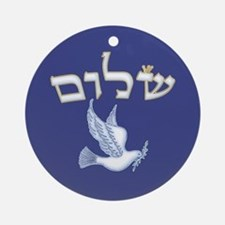 Shalom w/Dove /Bg (Hebrew) Ornament (Round)