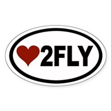 Love 2 Fly Euro Oval Bumper Stickers