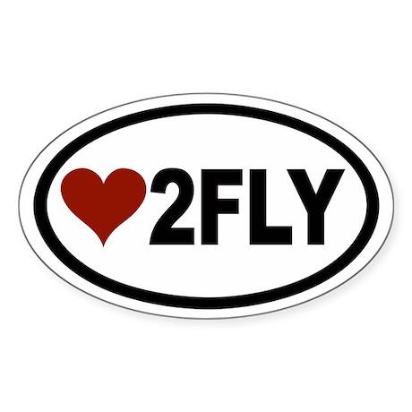 Love 2 Fly Euro Oval Sticker