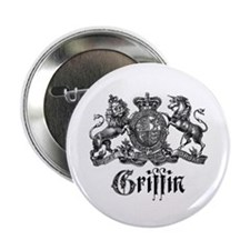 "Griffin Family Name Vintage Crest 2.25"" Button (10"