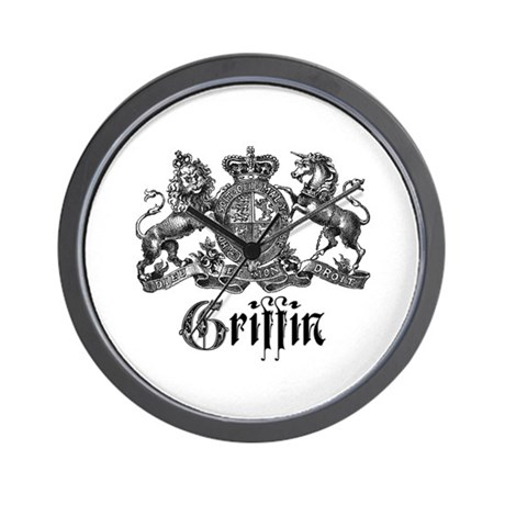 Griffin Family Name Vintage Crest Wall Clock