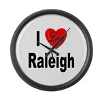 I Love Raleigh Large Wall Clock