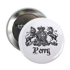 "Perry Vintage Family Name Crest 2.25"" Button"