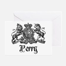 Perry Vintage Family Name Crest Greeting Card