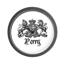 Perry Vintage Family Name Crest Wall Clock