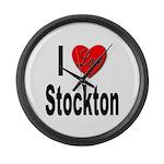I Love Stockton Large Wall Clock