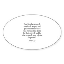 JOHN 4:36 Oval Decal