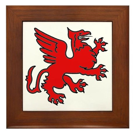 Red Griffin Framed Tile