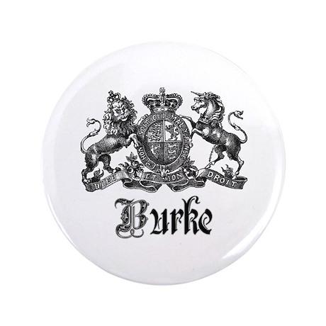 "Burke Vintage Family Name Crest 3.5"" Button"