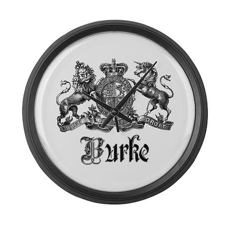 Burke Vintage Family Name Crest Large Wall Clock