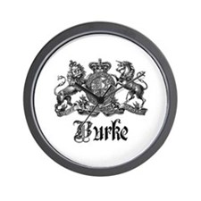Burke Vintage Family Name Crest Wall Clock