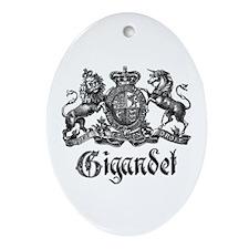 Gigandet Vintage Family Name Crest Oval Ornament