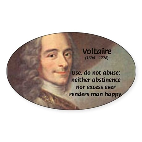 French Philosopher: Voltaire Oval Sticker