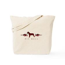 Pit Bull Flames Tote Bag