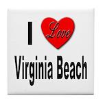 I Love Virginia Beach Tile Coaster