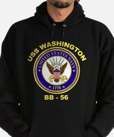 USS Washington BB 56 Hoodie (dark)