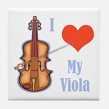 I Love My Viola Tile Coaster