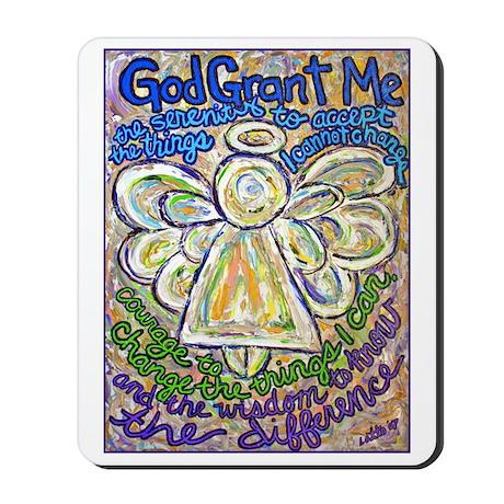English Serenity Prayer Angel Mousepad