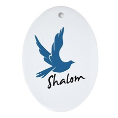 Shalom - Dove Oval Ornament