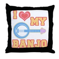 I Love My Banjo Throw Pillow